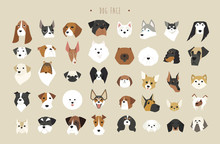 Cute Dogs Faces Breed Set