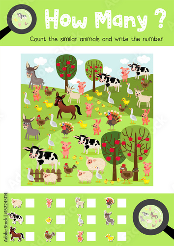 Counting game of farm animals for preschool kids activity