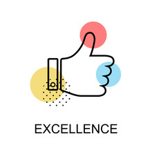 Excellence Thump Up Graphic Icon.Vector Illustration