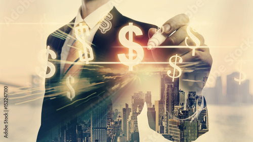 Fotografia Dollars with double exposure of businessman