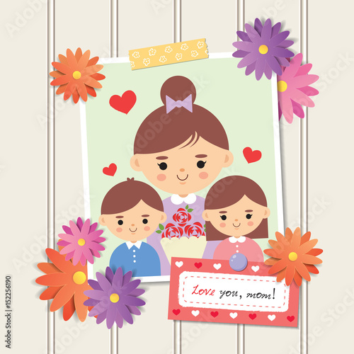 Happy Mothers Day Photo Of Cartoon Mother With Daughter And Son