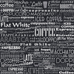 FototapetaCoffee Words Seamless Background