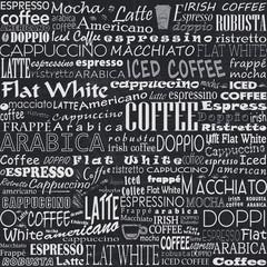 Fototapeta Coffee Words Seamless Background