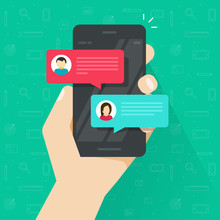 Chat Text Messages Notice Notification On Smartphone Vector Illustration, Flat Style Sms Bubbles On Mobile Phone Screen, Man Person Chatting On Cellphone With Woman