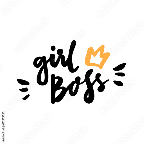 """Fotografie, Obraz  The calligraphic quote """"Girl boss"""" handwritten of black ink on a white background"""