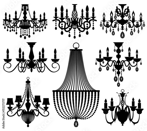 Fotografía Vintage crystal chandeliers vector silhouettes isolated on white