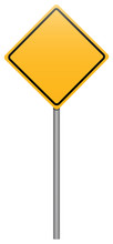 Yellow Rhombus Road Sign On St...