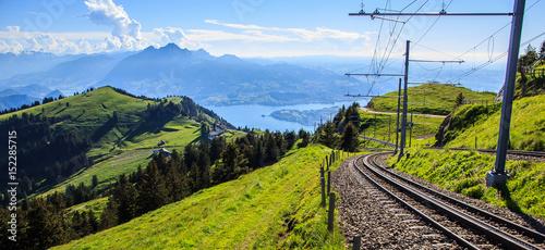 Poster Voies ferrées cogwheel train window view of railway track down Rigi Kulm Station, Lucerne, Switzerland.