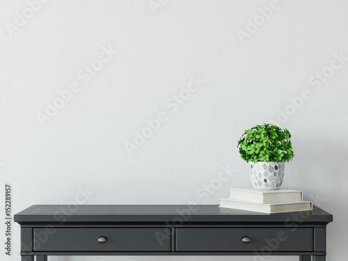 Obraz  mock up wall interior. Scandinavian style. Wall art. 3d rendering, 3d illustration - fototapety do salonu
