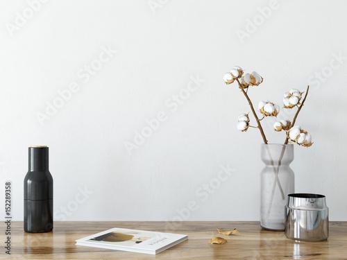 Fototapeta  mock up wall interior. Scandinavian style. Wall art. 3d rendering, 3d illustration obraz