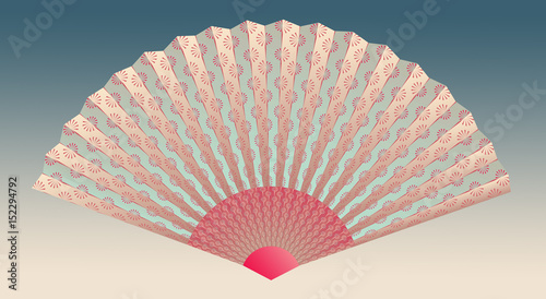 Garden Poster asian fan with linear flower pattern in pink shades