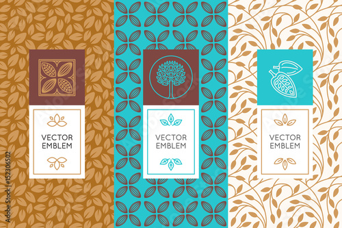 fototapeta na ścianę Vector set of design elements and seamless patterns for chocolate
