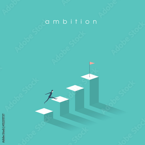 Photo Ambition vector concept with businessman jump on graph columns