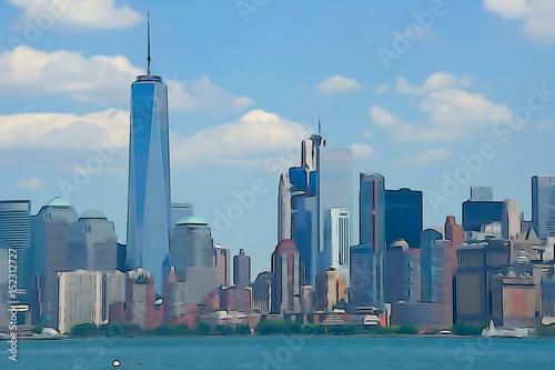 Photo  Manhattan Skyline Watercolor Painting
