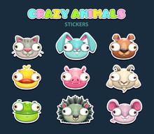 Comic Crazy Animal Faces Set.