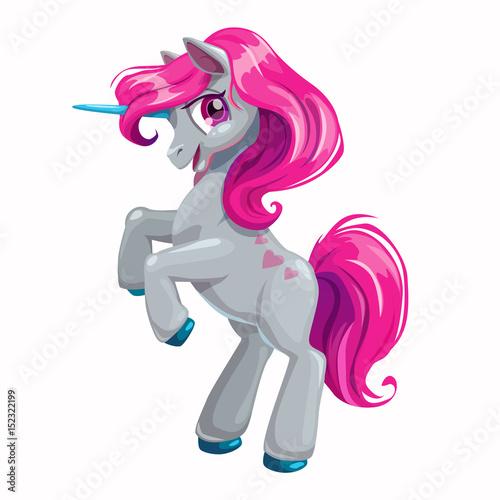 Plakat Kreskówka jednorożec z różowymi włosami.