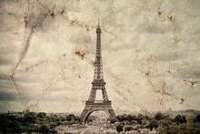 Eiffel Tower In Paris. Vintage...