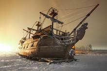 Vintage Wooden Sailing Ship Ni...