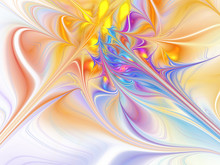 Exotic Flower. Abstract Glowing Shapes On White Background. Fantasy Fractal Design In Orange, Yellow, Blue And Purple Colors. Digital Art. 3D Rendering.