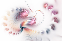 Abstract Fantastic Sparkling Spiral With Glossy Shapes On White Background. Digital Fractal Artwork In Pastel Orange, Pink And Blue Colors. 3D Rendering.