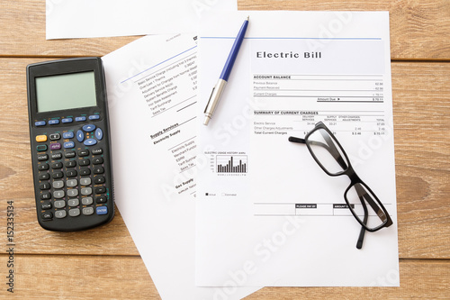 Fotografia, Obraz  Electricity bill charges paper form on the table