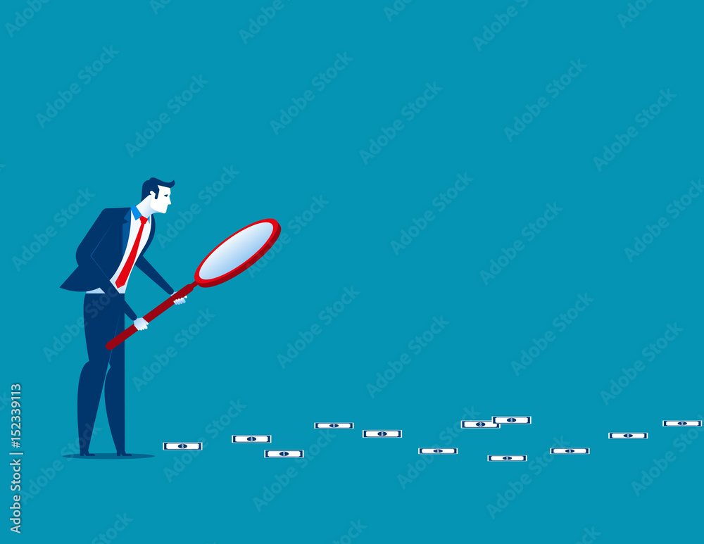 Fototapety, obrazy: Businessman following trail of money. Concept business finance vector illustration.