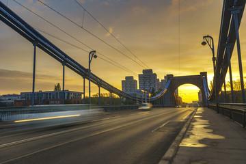Fototapeta Wroclaw, Poland- historic part of the old town,Grunwaldzki Bridge on the Oder River