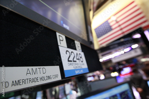 A Sign With The Ticker Symbol For Td Ameritrade Is Seen At The