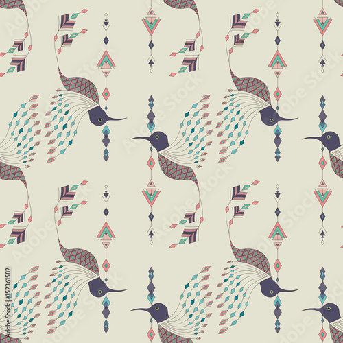Cotton fabric Exotic aztec birds seamless pattern. Geometric abstract tribal style. Vector illustration