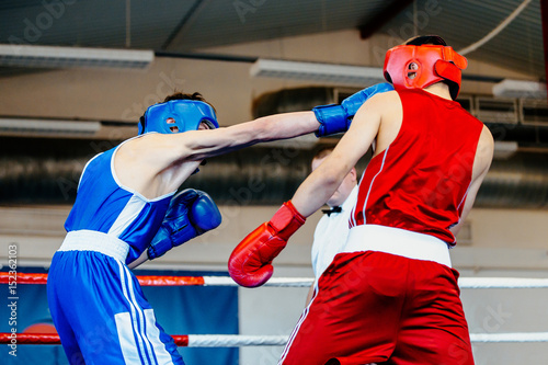 punch head amateur boxer man boxing fight in ring Wallpaper Mural