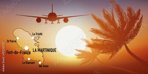 Martinique - île - Antilles - tourisme - carte - avion - destination - voyage Wallpaper Mural