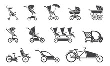 Vector Illustration Of Baby Strollers. Set Of Various Baby Strollers And Other Types Of Baby Rides.