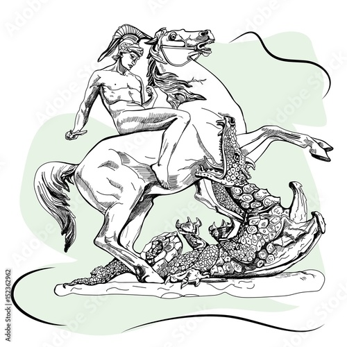 Photo  Saint George with a sword and and the dragon. Sketch