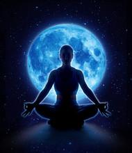 Yoga Woman In Full Blue Moon And Star. Meditation Girl Sitting In Lotus Pose Under Moonlight In Dark Night Sky, Moon Original Image From NASA.gov
