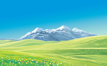 Mountain Landscape, Vector Ill...