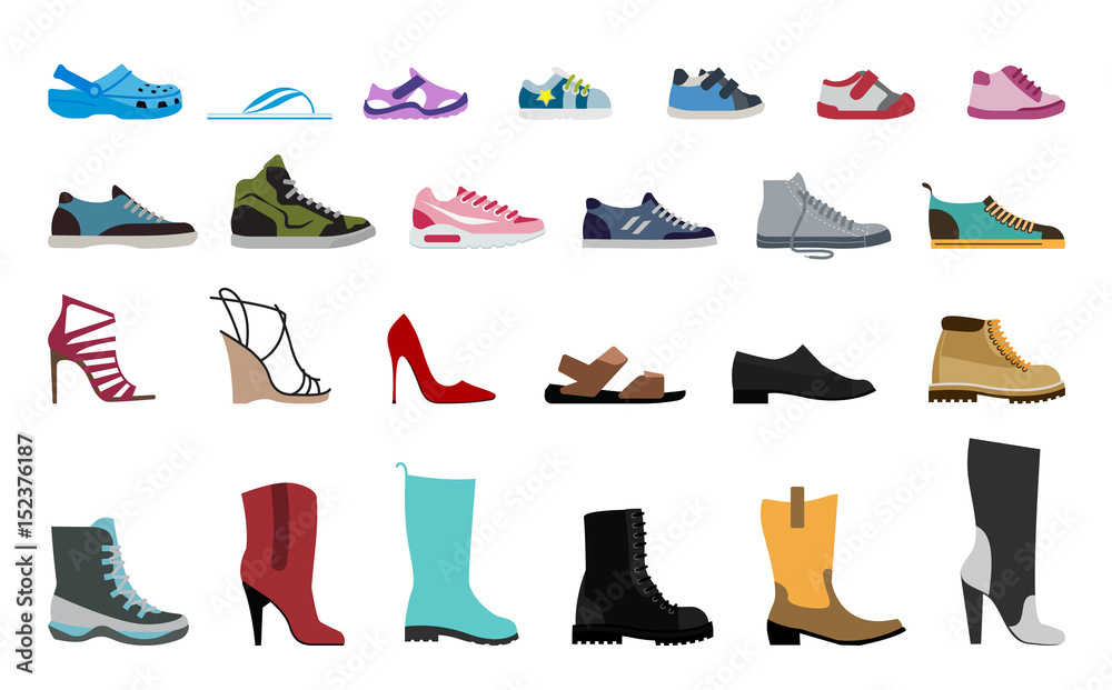 Fototapety, obrazy: Collection Men's, Women's and children's footwear. Stylish and fashionable shoes, sandals and boots.