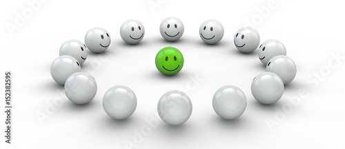 Fotografía  glücklicher Smiley in der Mitte - Konzept Akzeptanz, Mitglied, Gruppe oder Integ