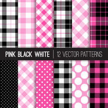 Pink, Black And White Polka Dots, Gingham And Tartan Plaid Vector Patterns. Trendy Hipster Lumberjill Flannel Shirt Checks. Set Of Girly Chic Hot Pink Backgrounds. Pattern Tile Swatches Included.