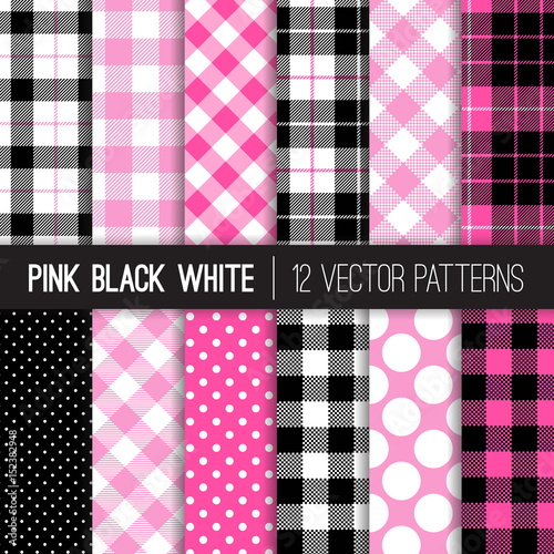 Photo  Pink, Black and White Polka Dots, Gingham and Tartan Plaid Vector Patterns