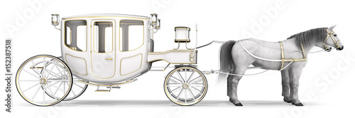Foto White horse drawn carriage