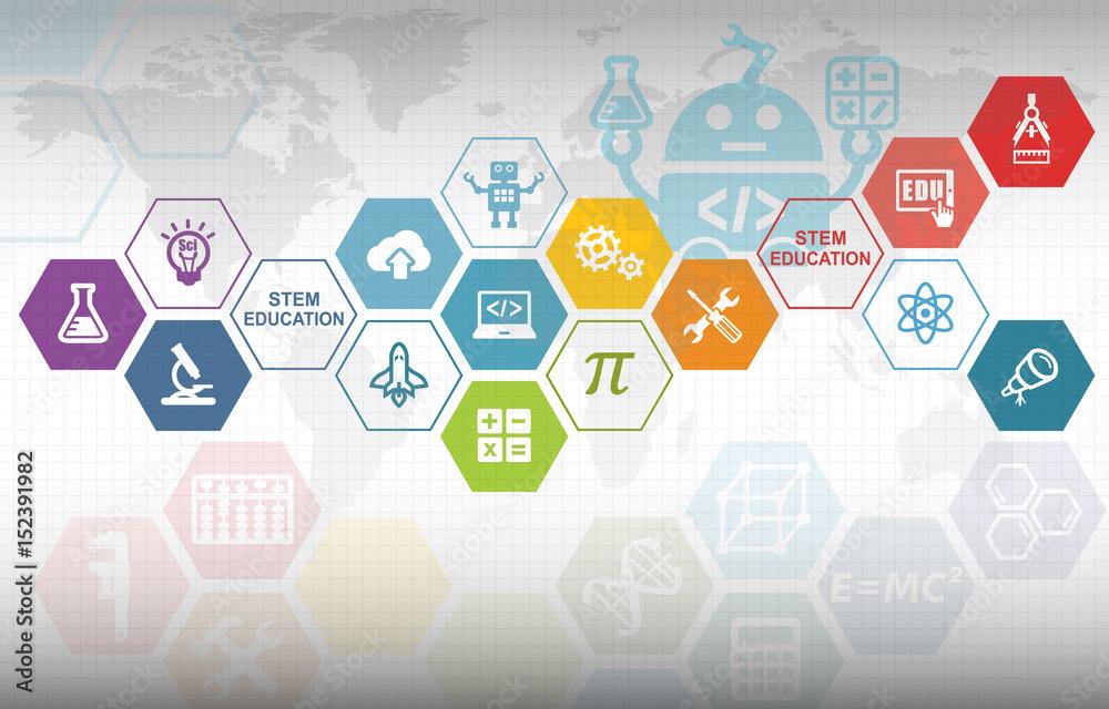 Fototapeta STEM Education Background. Science Technology Engineering Mathematics.