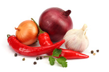 Spices Onion, Garlic And Chili Pepper Isolated On White Background