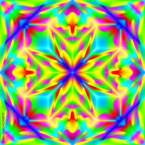 Wall Murals Psychedelic Fantasy ornament for colorful background done in kaleidoscopic style with seamless pattern. Vector image.