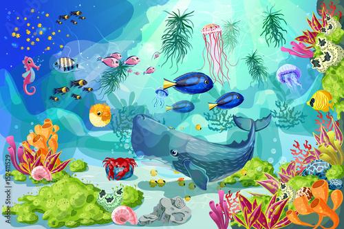 Cartoon Marine Underwater Landscape Template