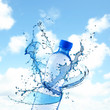 Bottle and water splashes on sky background. Concept of clean drink