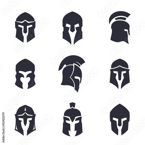 Photo  helmets set, spartan, greek and roman, ancient armor
