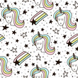 Cute seamless pattern with fairy unicorns and starfall. Childish texture for fabric, textile. Scandinavian style. Vector Illustration