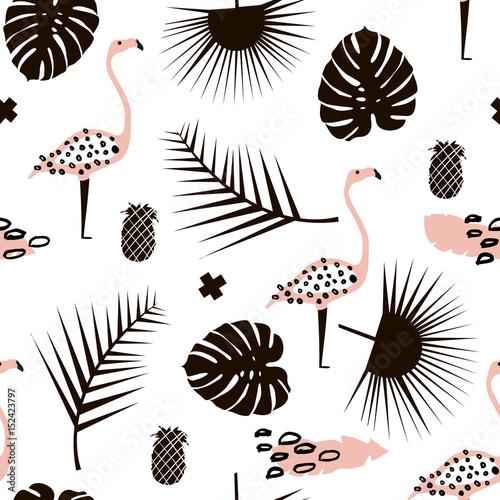 palma-galaz-modny-bezszwowy-wzor-z-reka-rysujacymi-elementami-lisc-monstera-ananas-flaming-swietny-do-tkanin-ilustracji-wektorowych-wlokienniczych