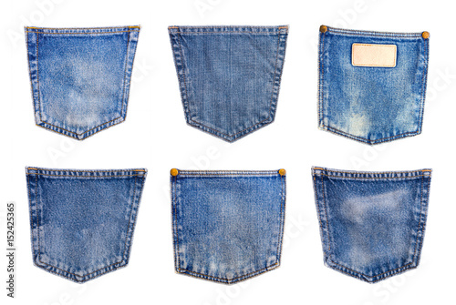 Cuadros en Lienzo collection of Denim blue jeans pocket isolated on white background