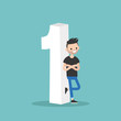 Number one concept. young smiling man leaning against the number One. Step one. First point. First place. Flat editable vector illustration